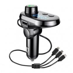 Автомобільний FM трансмітер модулятор Q15 Bluetooth MP3 з LCD екраном і зарядним кабелем 3в1 Original